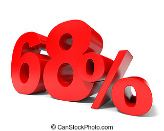 Red sixty eight percent off. Discount 68%. 3D illustration.