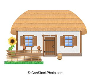 ancient farmhouse with a thatched roof vector illustration...