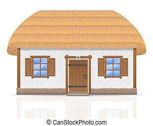 Ancien, ferme, à, a, couvert chaume, toit, vecteur,...