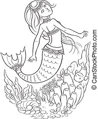 Young mermaid swimming in the ocean - Colouring page. Also...