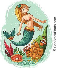 Young mermaid swimming in the ocean