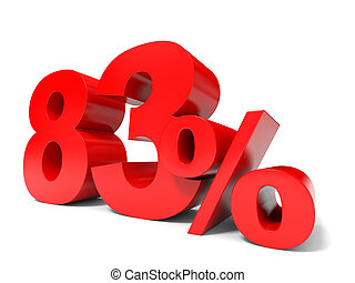 Red eighty three percent off. Discount 83%. 3D illustration.