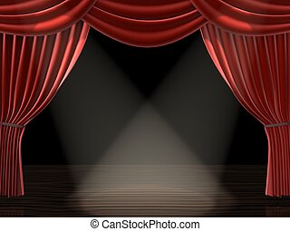 curtain with spotlights - 3d rendered illustration of a red...