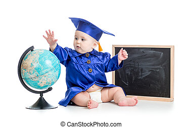baby in academician clothes with globe at chalkboard...