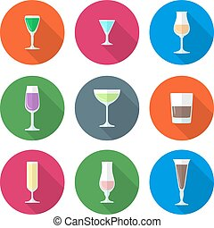 flat solid colors alcohol glasses s