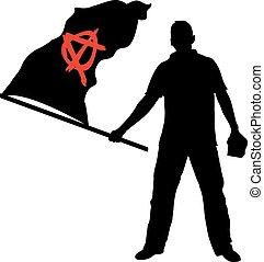 anarchy - man with anarchy flag