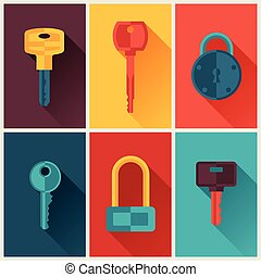 Locks and keys icons set in flat style