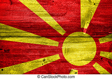 Macedonia Flag painted on old wood plank texture