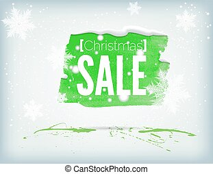 Christmass inky banner - Christmass green inky watrcolor...