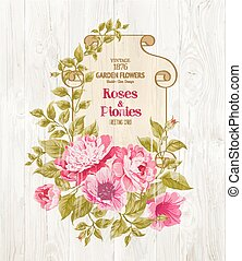 Pink peony. - Pink peony background with a vintage label...