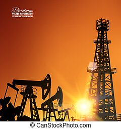 Oil derrick industrial machine for drilling at the sunset...