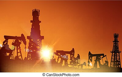 Oil industry. - Oil derrick industrial machine for drilling...