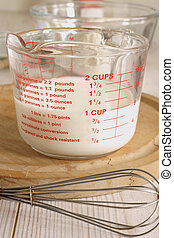 Measuring Jug - Measuring out milk in a measuring jug for...