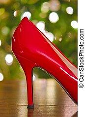 Natal, vermelho, alto, calcanhar, sapato,