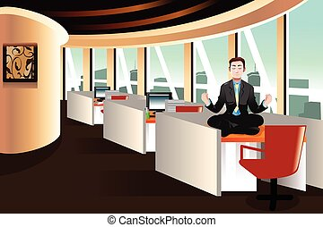 Businessman meditating in the office - A vector illustration...