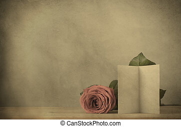 Vintage Effect Rose with Blank Card - Valentines day and...