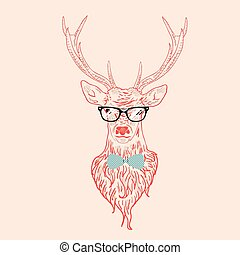 Hipster Stag - Illustration of a deer hipster in glasses,...