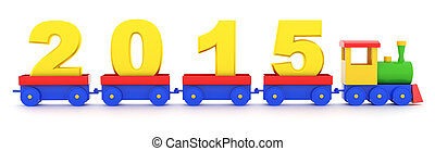 2015 New Year - The toy locomotive transports 2015 new year