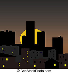 city sunrise sunset illustration - dark city with sun rising...