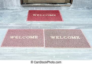 Old welcome doormat