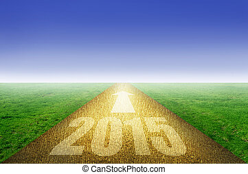 2015 gold road - 2015 on golden road with green grass on...