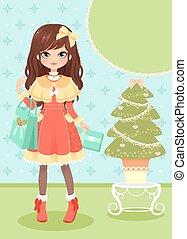 ragazza, albero, Natale