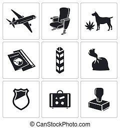 Drug trafficking icon set - drug trafficking by air icon...