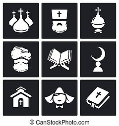 Religion Icon set - Religion Icon collection on a black...