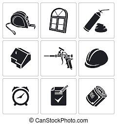 Installation of windows Icons set - Icons set furniture on a...
