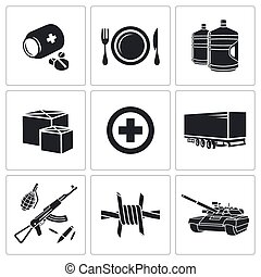 Humanitarian relief Icons set - Humanitarian relief Icons...