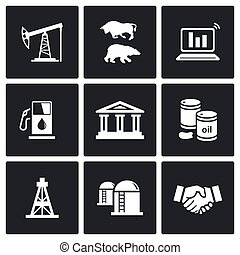Oil and gas industry Vector Icons Set - Oil and Gas Isolated...
