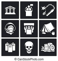Protest icon set - demonstration icon collection on a black...