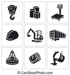 Metallurgy Icons set - Metallurgy Icon collection on a white...