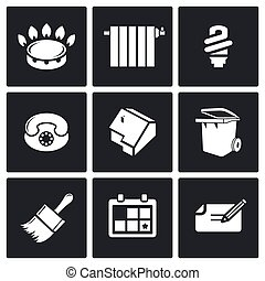 Utilities Vector Icons Set - utilities Icon flat collection...