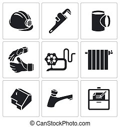 Plumber profession Vector Icons Set - Plumber Icon...