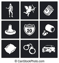 Street Prostitution Vector Icons Set - selling love Icon...
