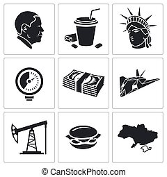 United States Vector Icons Set - America Icon flat...