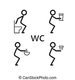 Toilet situation vector icon - action in the toilet icon...