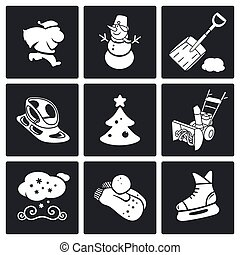 New Year's Eve and Christmas Vector Icons Set - winter icons...