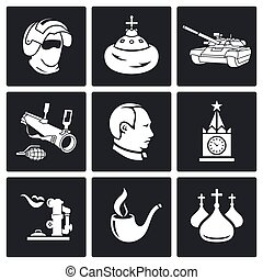 Russia Vector Icons Set - Russia Icon flat collection...