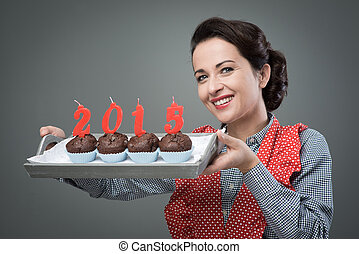 Happy New Year 2015 with muffins - Vintage housewife serving...