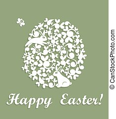 Easter applique with decorative egg and rabbit