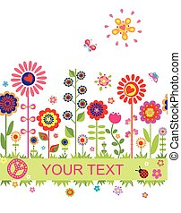 Greeting seamless border with funny abstract flowers