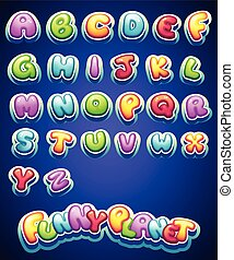 colored letters for decoration of different names for games....