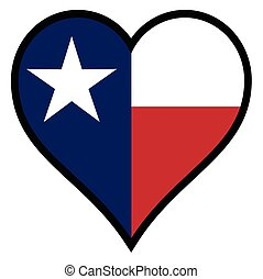 Love Texas - The flag of the state of Texas within a heart...