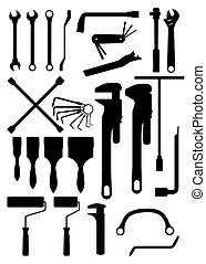 wrench and brush - silhouette  tool