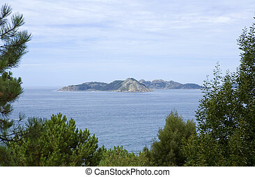 Cies islands - View of Cies islands in spain, galician...