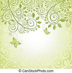 wiosna, dekoracyjny, Karta,