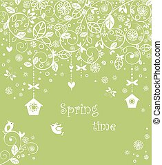 Spring lacy card with little birds - Spring lacy card with...