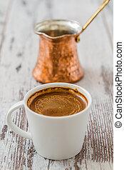 turkisk, kaffe, och, kaffe, kruka,